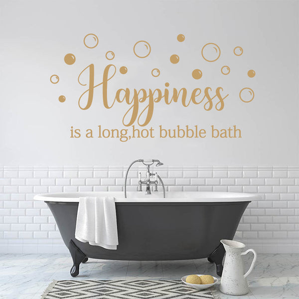 Happiness Is A Long Hot Bubble Bath Wall Sticker