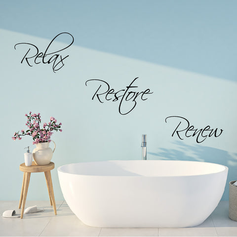 Relax Restore Renew Bathroom Wall Sticker