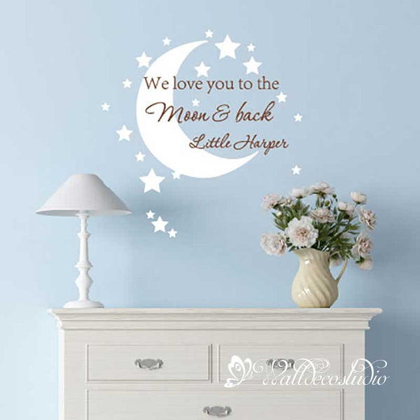 We Love You to the Moon and Back-Moon Stars with Custom Name Wall Sticker