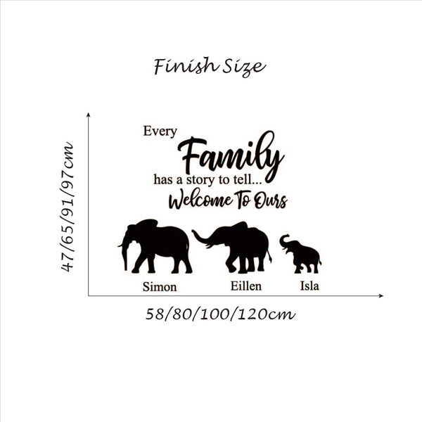 Elephant Family Welcome Quote with Personalized Name