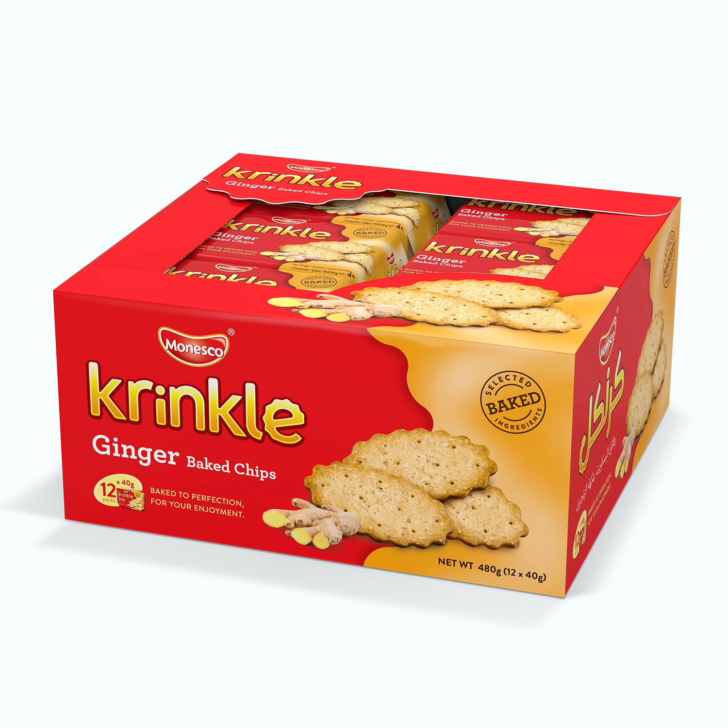 Monesco Krinkle Ginger Baked Chips (12 x 40g)