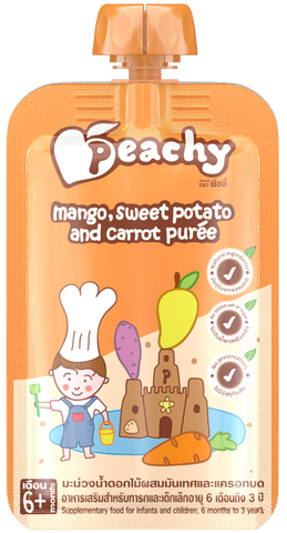 Peachy Baby Puree Mango, Sweet Potato and Carrot Box (7 Pouches)