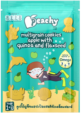 Peachy Multigrain Cookies - Apple with Quinoa and Flaxseed Box (7 Pouches)