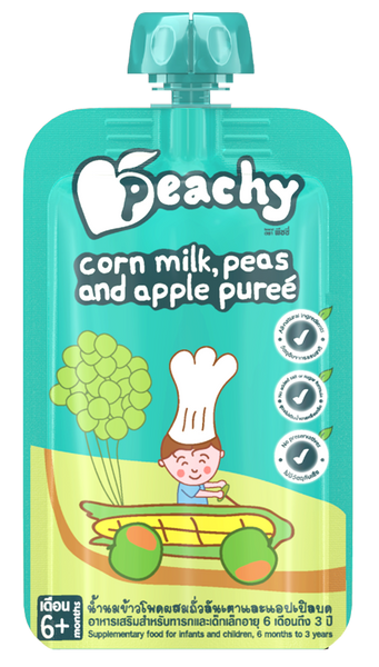 Peachy Baby Puree Corn Milk, Peas and Apple Box (7 Pouches)