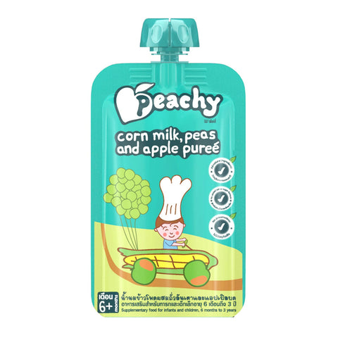 Peachy Baby Food - Corn Milk, Peas and Apple Puree