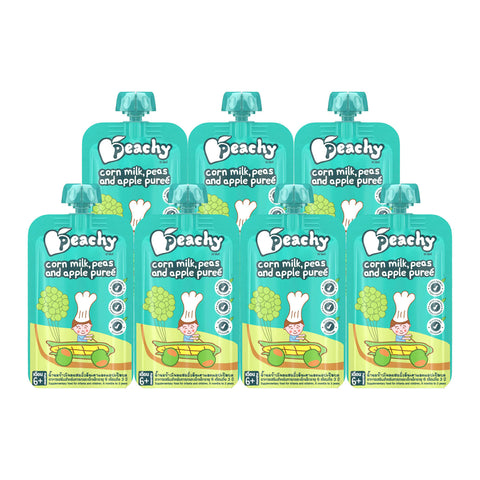 Peachy Baby Food - Corn Milk, Peas and Apple Puree Box (7 Pouches)