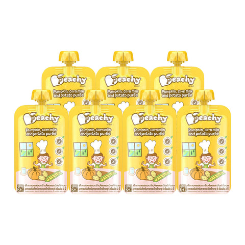 Peachy Baby Food - Pumpkin, Corn Milk & Potato Puree Box (7 Pouches)