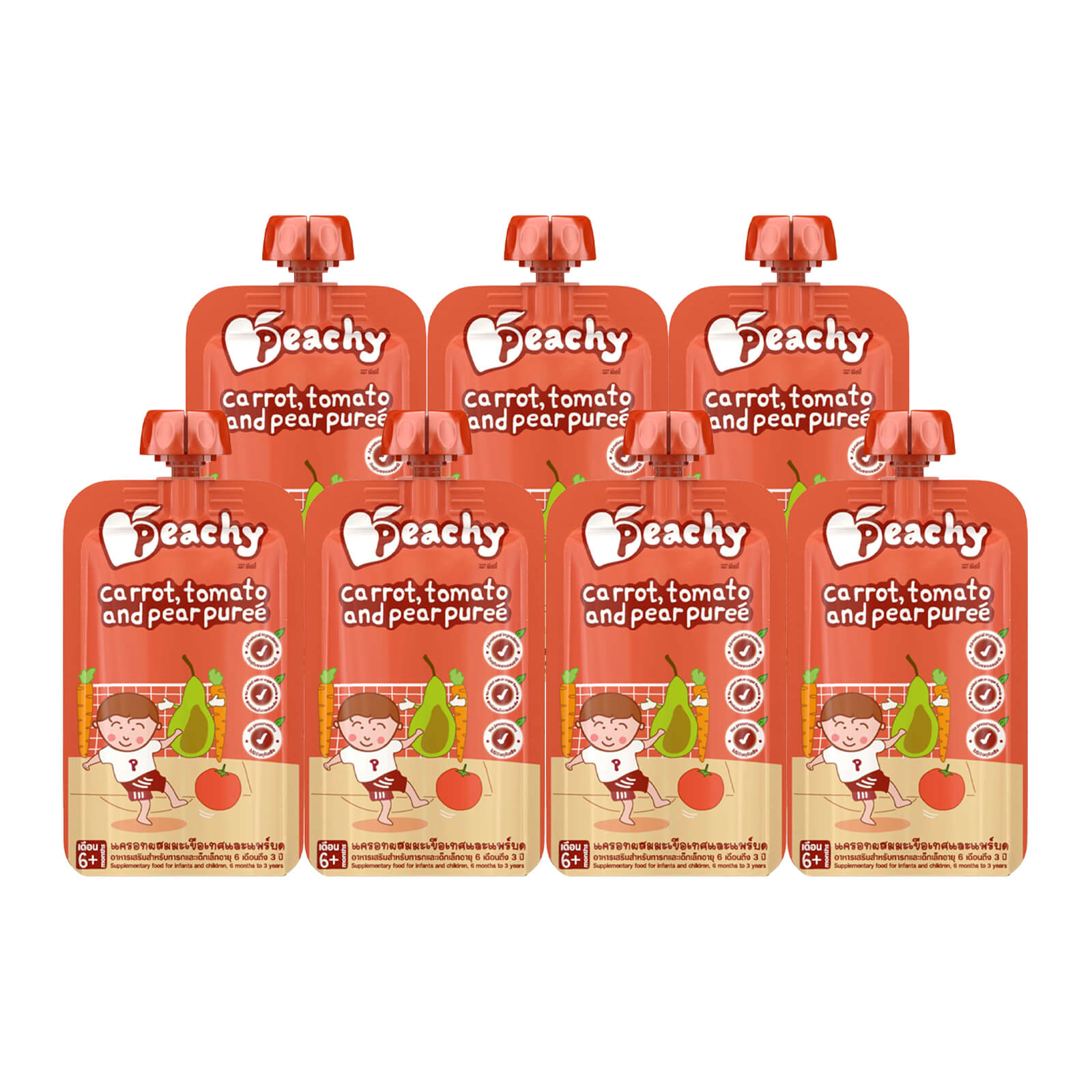 Peachy Baby Puree Carrot, Tomato and Pear Box (7 Pouches)