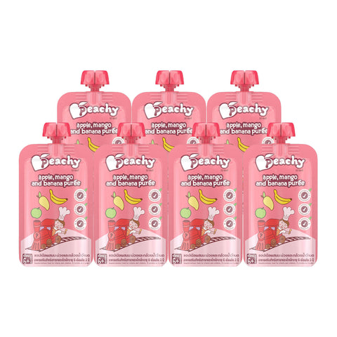 Peachy Baby Food - Apple, Mango and Banana Puree Box (7 Pouches)