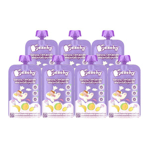 Peachy Baby Food - Banana, Cantaloupe and Potato Puree Box (7 Pouches)