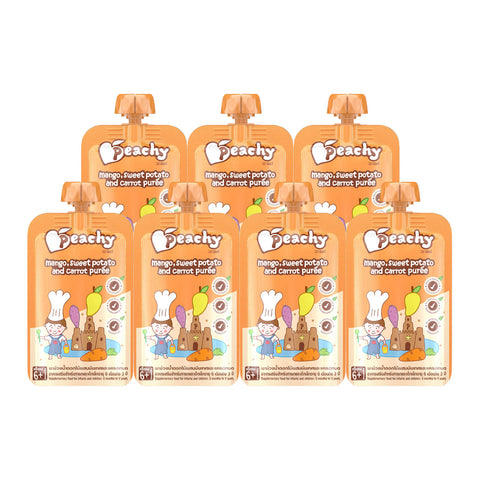 Peachy Baby Food - Mango, Sweet Potato and Carrot Puree Box (7 Pouches)
