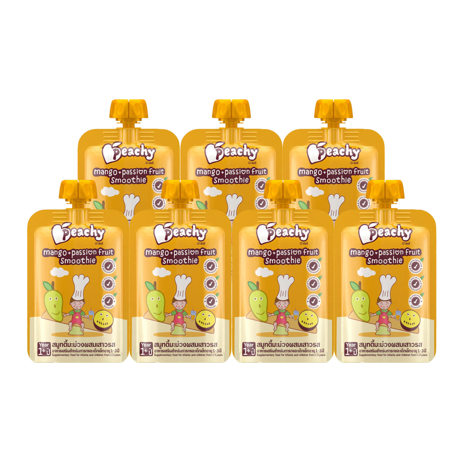Peachy Baby Food - Mango & Passion Fruit Smoothie Box (7 Pouches)