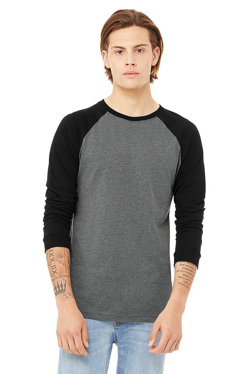 Bella + Canvas 3000 Men's Jersey Long Sleeve Baseball Tee