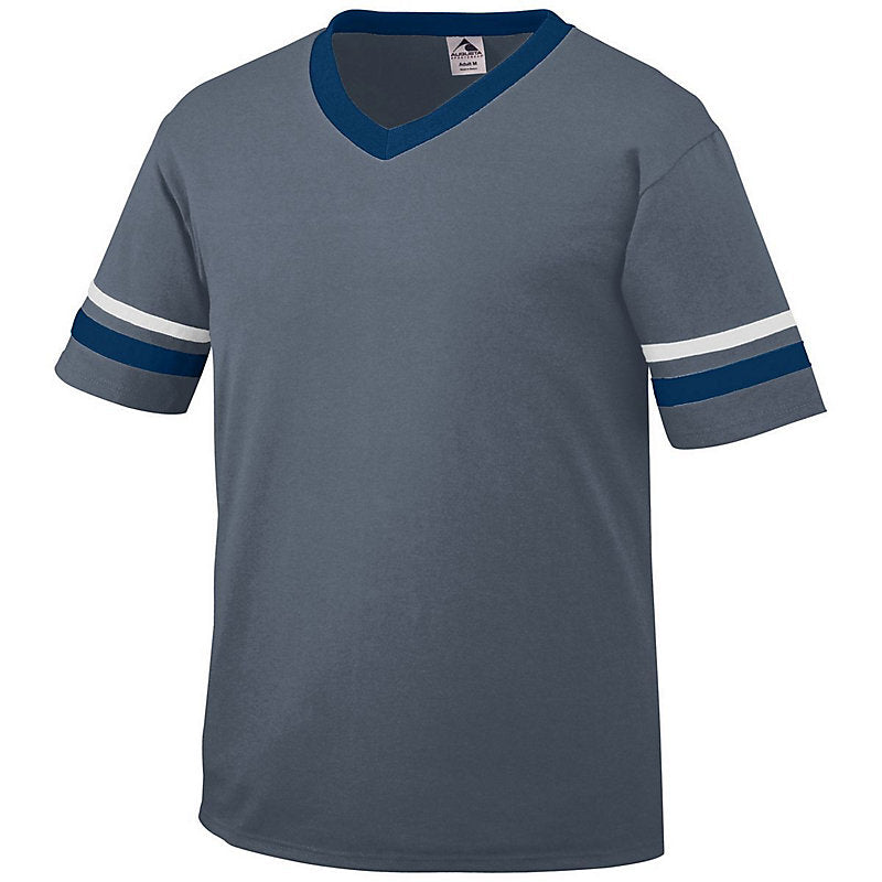 Augusta Sportswear 360 V-Neck Jersey with Striped Sleeves