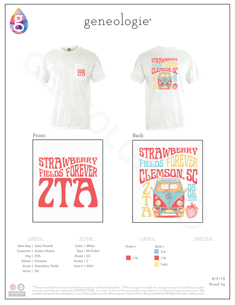 Zeta Tau Alpha Strawberry Fields $17.50