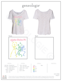 Alpha Delta Pi Fall 2020 Skeleton Short Sleeve $21.00