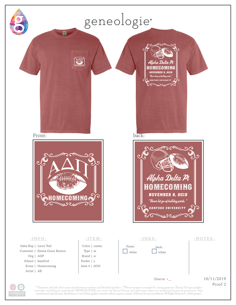 Alpha Delta Pi Samford Homecoming $17.50