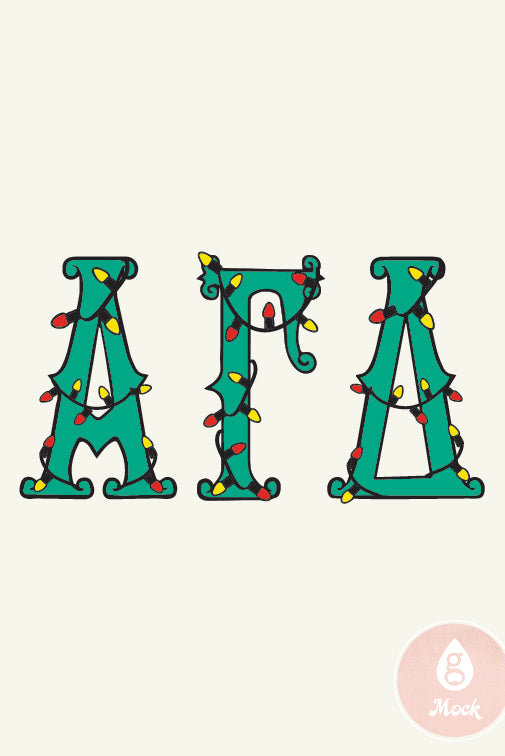Alpha Gamma Delta Christmas Holiday Light Letters