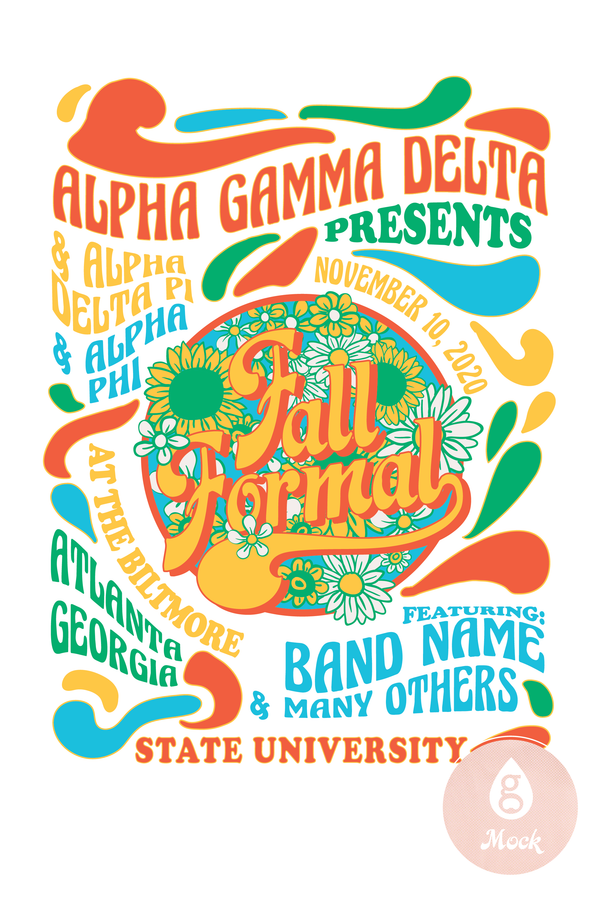 Alpha Gamma Delta Fall Formal Hippie Poster