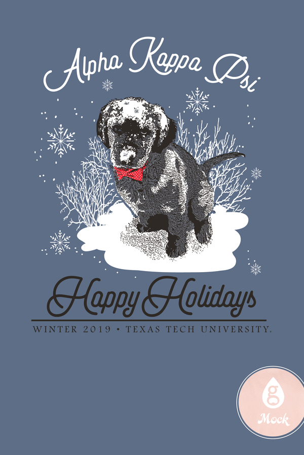 Alpha Kappa Psi Winter Holiday Snow Dog