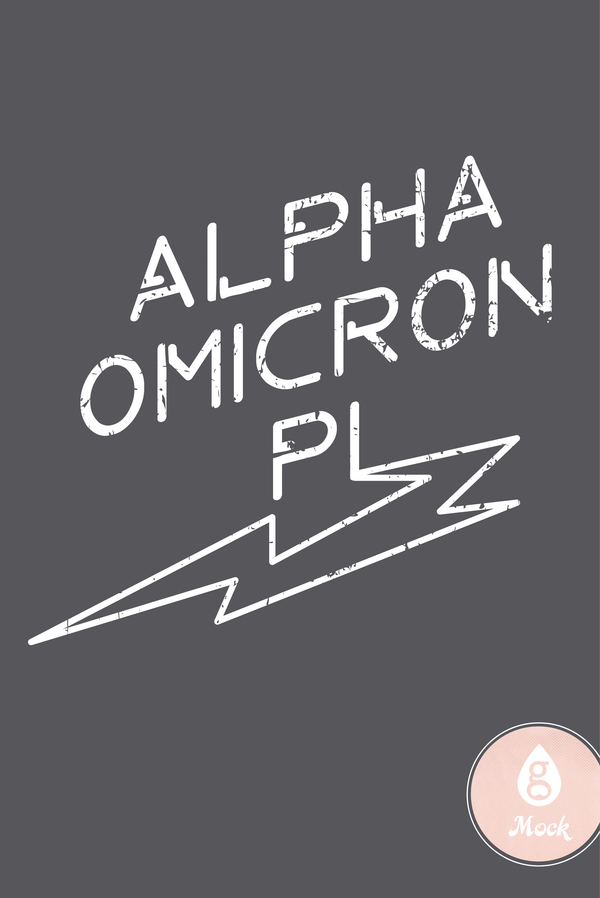 Alpha Omicron Pi Distressed Lightning Bolt