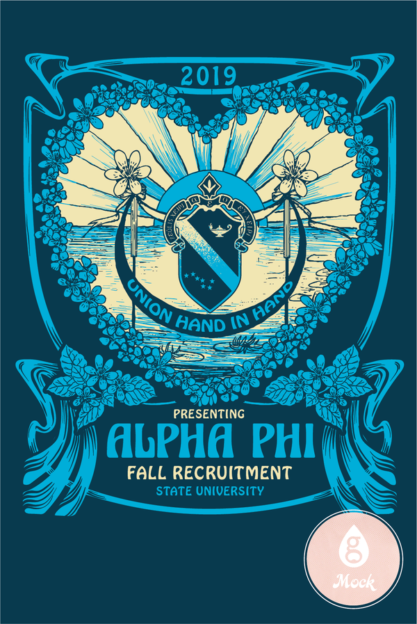 Alpha Phi Blue Sunset Crest