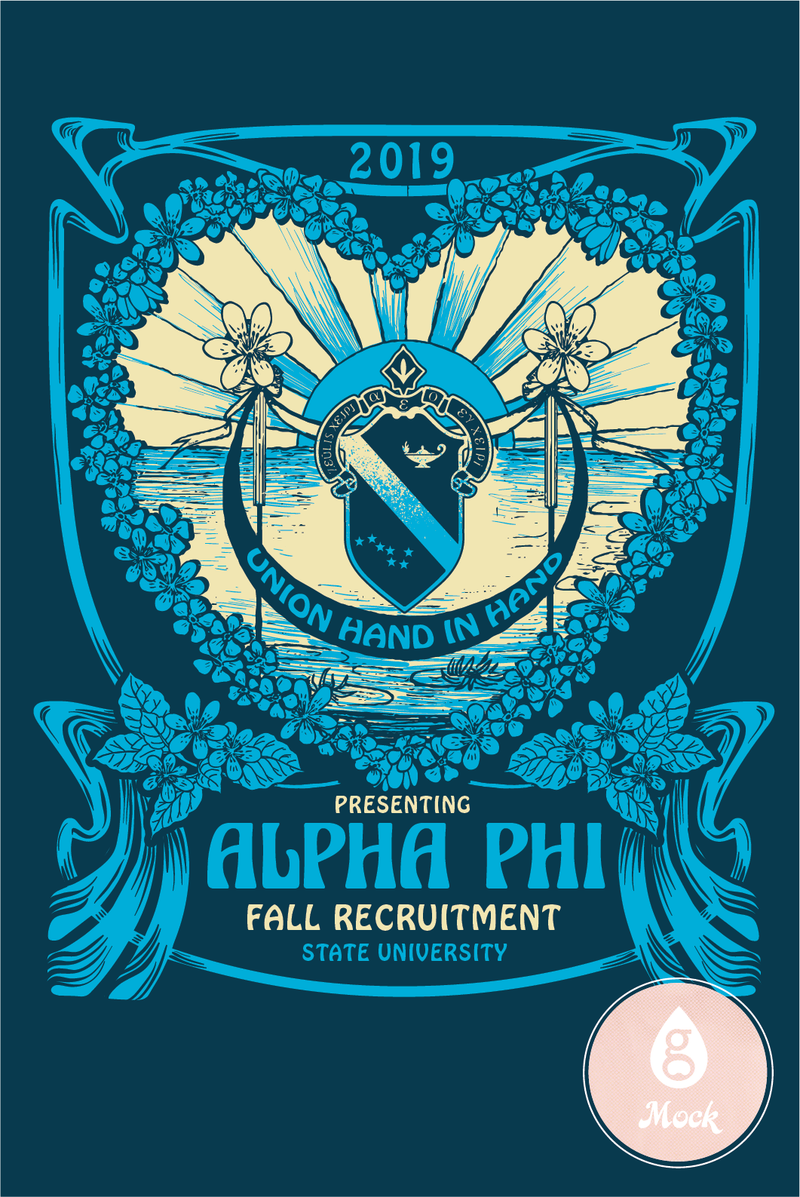 Alpha Phi Recruitment Hippie Floral Crest