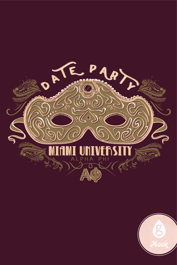 Alpha Phi Date Party Gold Mask