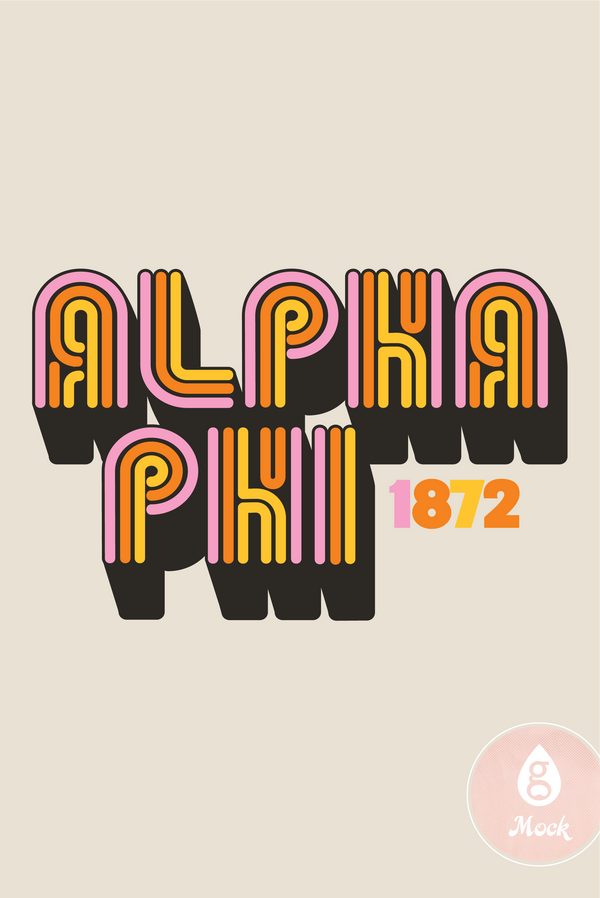 Alpha Phi Sisterhood Neon Rainbow Type