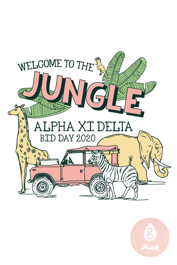 Alpha Xi Delta Bid Day Jungle Safari Animal Jeep