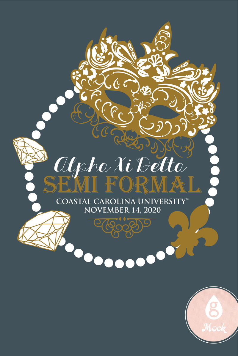 Alpha Xi Delta Semi Formal Mask and Pearls