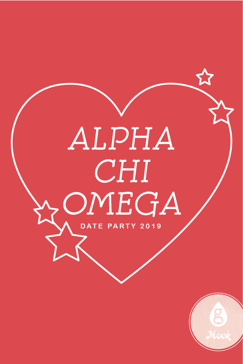 Alpha Chi Omega Heart and Stars