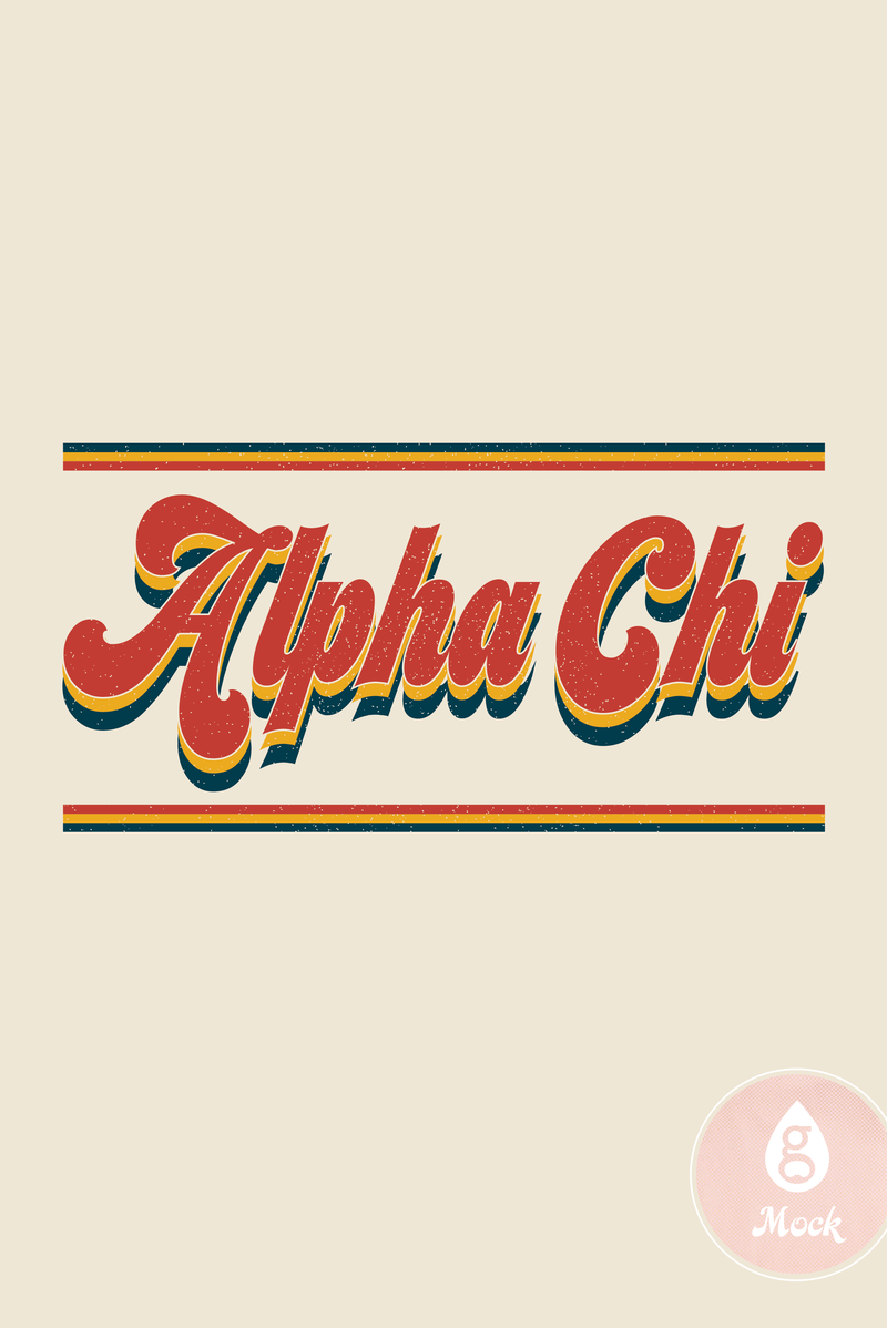 Alpha Chi Omega Vintage Retro Stripes and Vibes