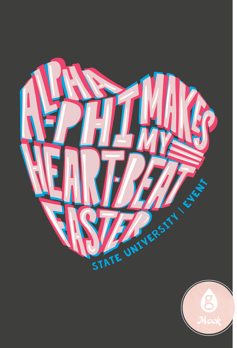 Alpha Phi Heartbeat Psychedelic