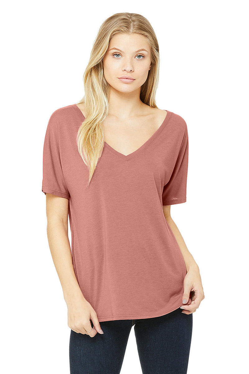 Bella + Canvas 8815 Women's Slouchy Short Sleeve V-Neck Tee