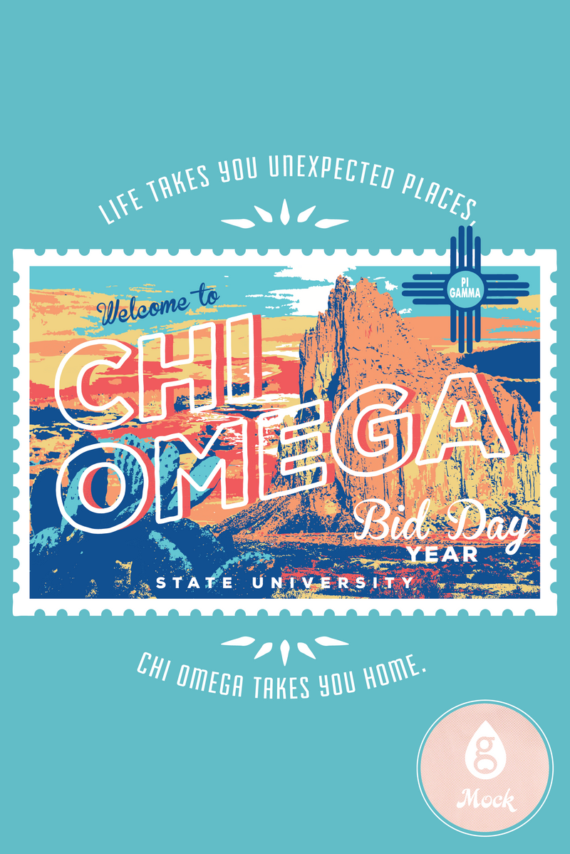 Chi Omega Bid Day Postcard