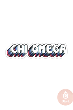 Chi Omega Retro Type Decal