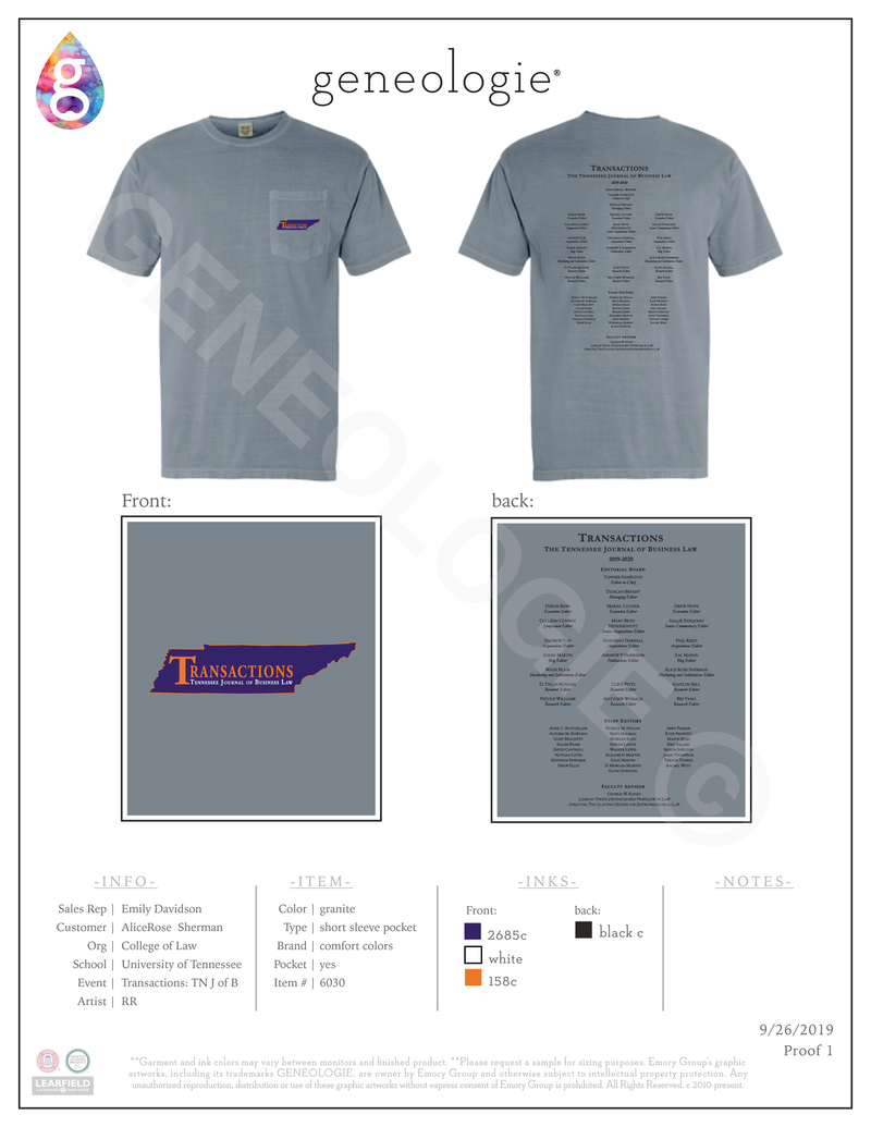 College of Law Transactions Shirt $20.00