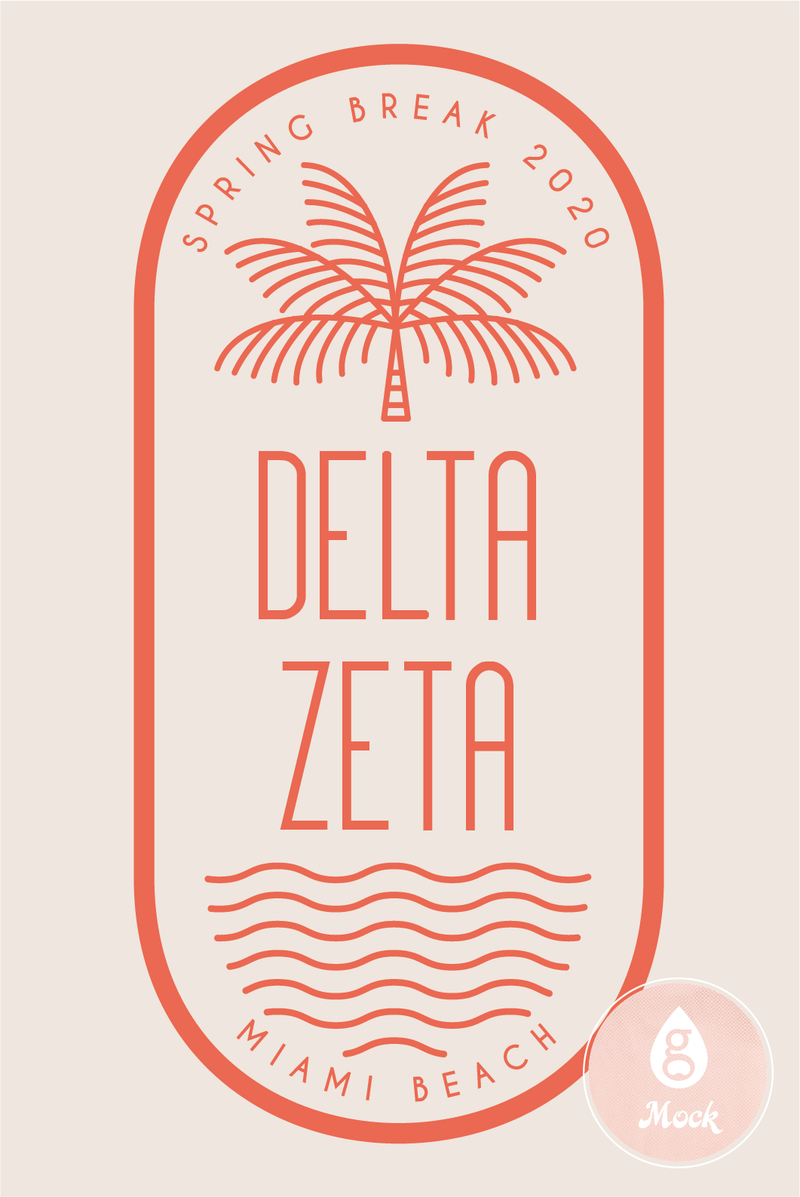 Delta Zeta Palm Tree Oval