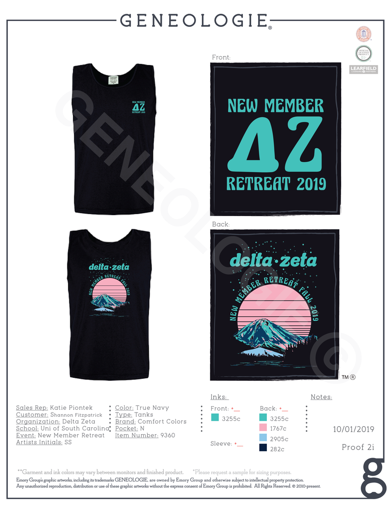 Delta Zeta New Member Retreat - Tank $21.50