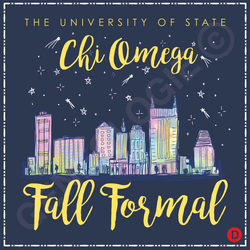 Chi Omega Watercolor City Skyline (digital)