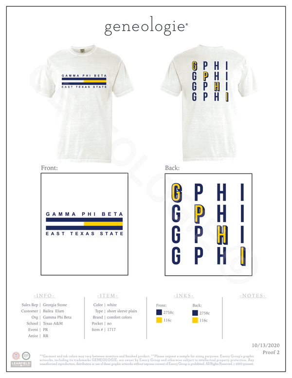 Gamma Phi Beta PR - White/Yellow $17.00
