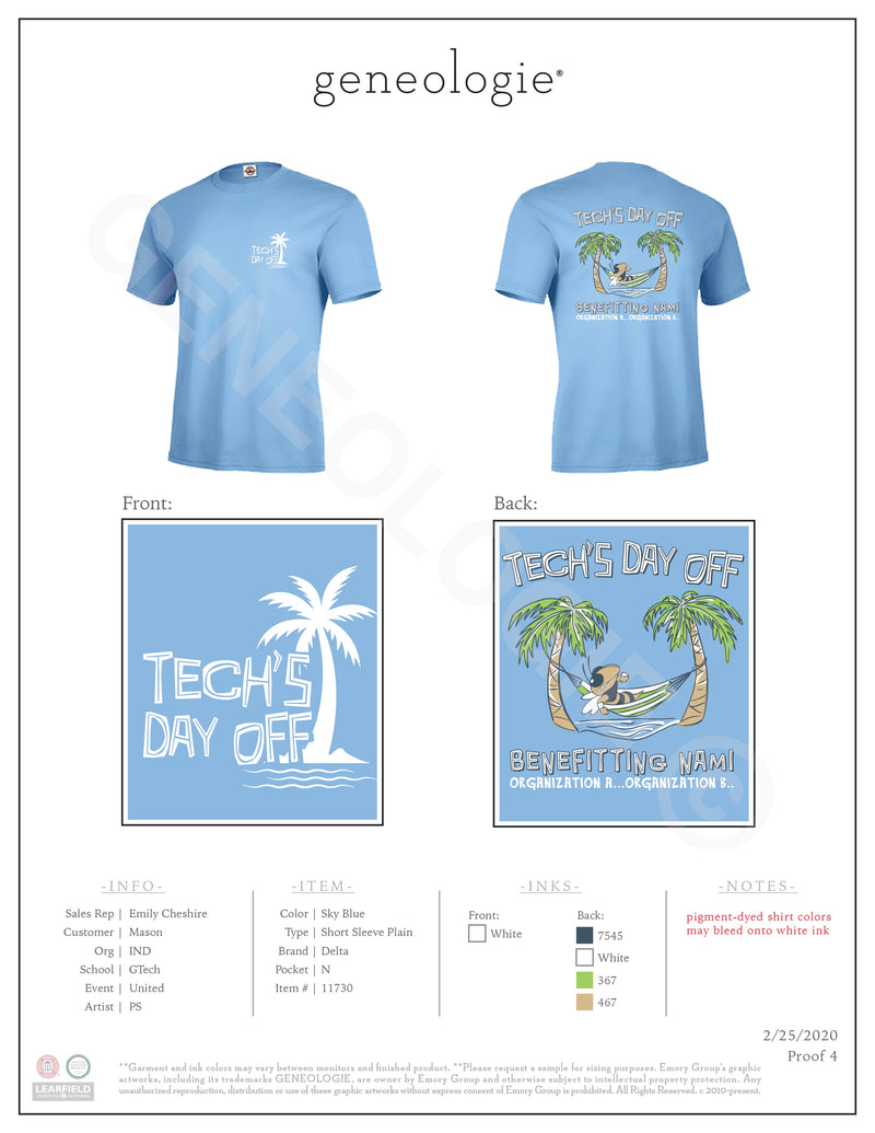 Tech's Day Off - Sky Blue $17.00