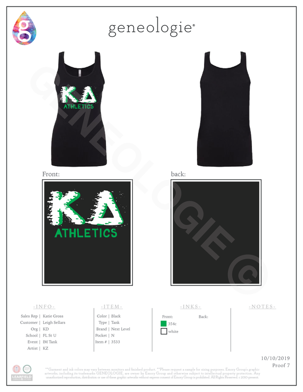 Kappa Delta IM Tank - Next Level $13.50