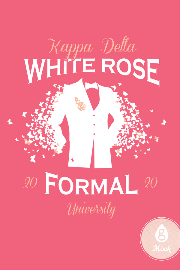 Kappa Delta Formal White Rose Butterfly
