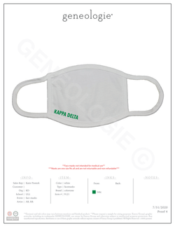 Kappa Delta Face Mask $9.50