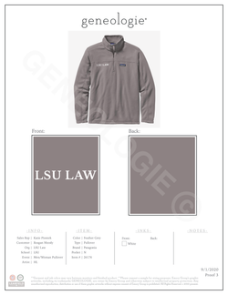 LSU Law Men's Patagonia Pullover $90.00