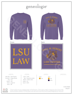 LSU Law Purple Long Sleeve Tee $25.00