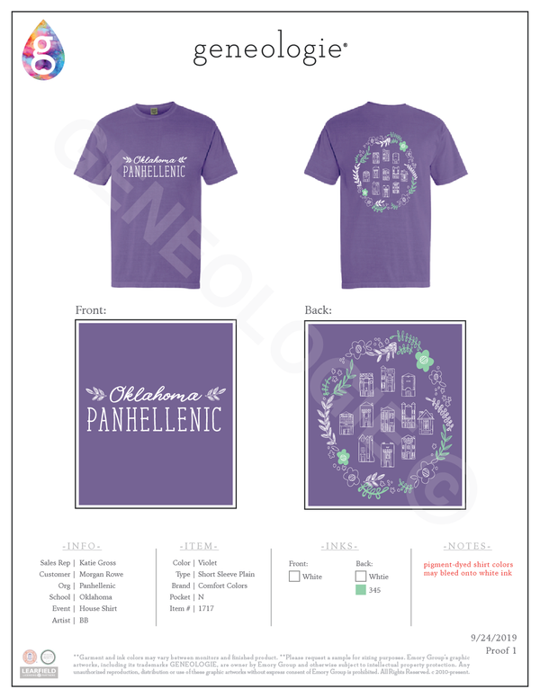 Panhellenic House Shirt - Violet $20.00