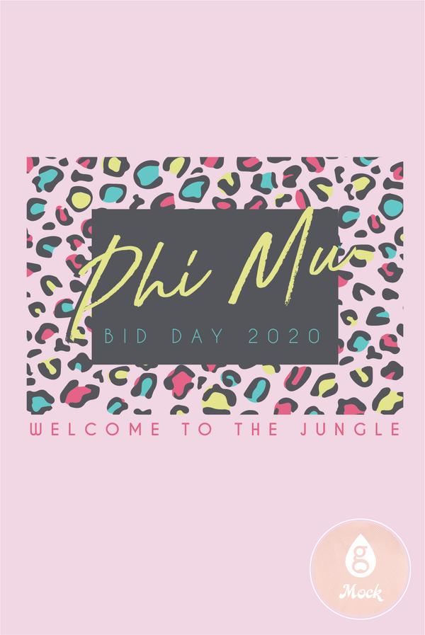 Phi Mu Bid Day Retro Jungle Leopard Print